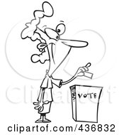 Royalty Free RF Clipart Illustration Of A Line Art Design Of A Woman Putting Her Ballot Into A Vote Box by toonaday