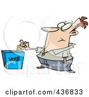Royalty Free RF Clipart Illustration Of A Cartoon Man Putting His Ballot Into A Vote Box by toonaday