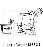 Royalty Free RF Clipart Illustration Of A Line Art Design Of A Man Putting His Ballot Into A Vote Box by toonaday