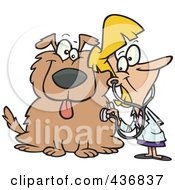Royalty Free RF Clipart Illustration Of A Female Vet Using A Stethoscope On A Dog by toonaday