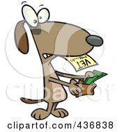 Royalty Free RF Clipart Illustration Of A Dog Pulling Cash Out Of His Wallet To Pay A Vet Bill by toonaday