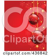 Royalty Free RF Clipart Illustration Of A Red Snowflake Background With Red Christmas Baubles And Sparkles