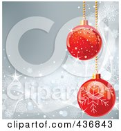 Royalty Free RF Clipart Illustration Of A Silver Snowflake Background With Red Christmas Baubles