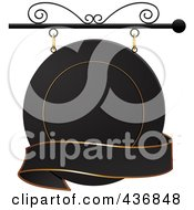 Royalty Free RF Clipart Illustration Of A Round Black And Gold Shingle Sign With A Blank Banner by elaineitalia