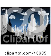 Clipart Illustration Of A Crowded Gray And Black Silhouetted City Skyline Against A Dark Blue Cloudy Sky