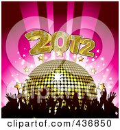 Royalty Free RF Clipart Illustration Of Silhouetted Hands Under A Golden Disco Ball With 2012 And Stars Over Pink by elaineitalia