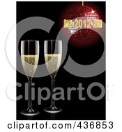 Royalty Free RF Clipart Illustration Of Two Champagne Glasses Under A Red New Year Disco Ball On Black by elaineitalia