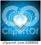 Royalty Free RF Clipart Illustration Of A Blue Diamond Heart With Smaller Diamonds And Gold Stars On Blue by elaineitalia