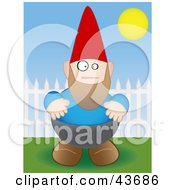 Clipart Illustration Of A Chubby Garden Gnome By A Picket Fence