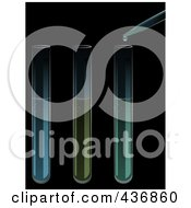 Royalty Free RF Clipart Illustration Of Three Test Tubes And A Dropper Over Black