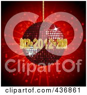 Royalty Free RF Clipart Illustration Of Golden 2012s Circling A Red Disco Ball On Red by elaineitalia
