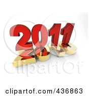 Royalty Free RF Clipart Illustration Of A 3d Red 2011 On Top Of A Gold 2010 Over Shaded White