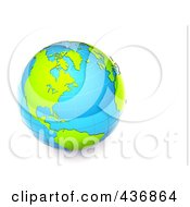 Royalty Free RF Clipart Illustration Of A 3d Shiny Blue And Green Grid Globe by chrisroll