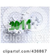 Royalty Free RF Clipart Illustration Of A 3d 2011 Breaking Through A Brick Wall by chrisroll