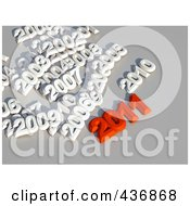 Royalty Free RF Clipart Illustration Of A 3d Red 2011 With Other Years Over Gray