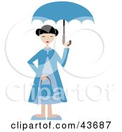 Clipart Illustration Of A Woman In Blue Holding An Umbrella Over Her Head