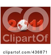 Royalty Free RF Clipart Illustration Of A 3d Globe In 2011 Over Red
