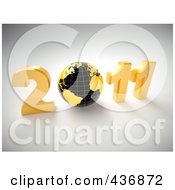 Royalty Free RF Clipart Illustration Of A 3d Globe In 2011 Over Gray by chrisroll
