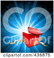 Royalty Free RF Clipart Illustration Of A Red Gift Box Bursting Open Over Blue