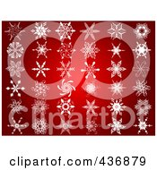 Royalty Free RF Clipart Illustration Of A Digital Collage Of Snowflake Designs On Red
