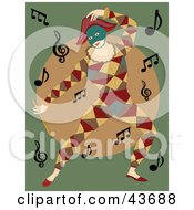 Dancing Mime In A Colorful Costume With Music Notes