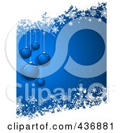 Royalty Free RF Clipart Illustration Of A Blue Christmas Background With Baubles And White Snow Grunge