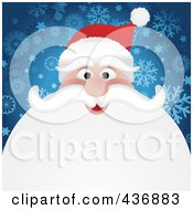 Royalty Free RF Clipart Illustration Of Santas Face With A Big White Beard Over Blue Snowflakes