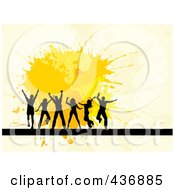 Royalty Free RF Clipart Illustration Of Happy Silhouetted Dancers Over Yellow Splatters On Beige