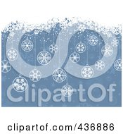 Royalty Free RF Clipart Illustration Of A Blue Retro Christmas Background With Baubles And White Snow Grunge