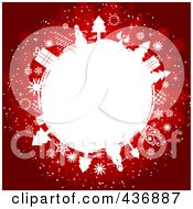 Royalty Free RF Clipart Illustration Of A Red Christmas Background With A White Circle Of Gifts Trees And Snowflakes by KJ Pargeter