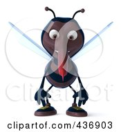 Royalty Free RF Clipart Illustration Of A 3d Skeeter Character Facing Front And Slouching by Julos