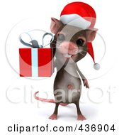 3d Christmas Mouse Carrying A Gift Box 1