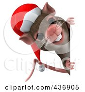 Royalty Free RF Clipart Illustration Of A 3d Christmas Mouse With A Sign 2