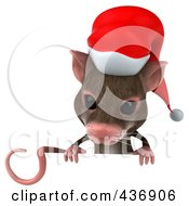 Royalty Free RF Clipart Illustration Of A 3d Christmas Mouse With A Sign 1
