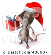 Royalty Free RF Clipart Illustration Of A 3d Christmas Mouse Carrying A Gift Box 2