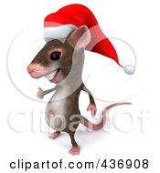 3d Christmas Mouse Facing Left And Holding A Thumb Up