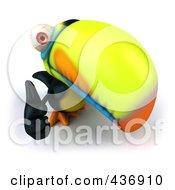 Royalty Free RF Clipart Illustration Of A 3d Toucan Bird Looking Up And Pointing