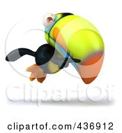 Royalty Free RF Clipart Illustration Of A 3d Toucan Bird Pointing And Flying Right