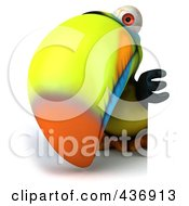 Royalty Free RF Clipart Illustration Of A 3d Toucan Bird With A Sign 2