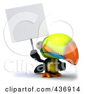 Royalty Free RF Clipart Illustration Of A 3d Toucan Bird With A Sign 1