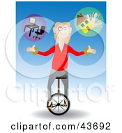 Clipart Illustration Of A Woman Riding A Unicycle And Jugging Work And Family by mheld