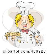 Royalty Free RF Clipart Illustration Of A Messy Chef Holding A Pie Over Beige