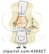 Royalty Free RF Clipart Illustration Of A Happy Cher Holding A Plate And Gesturing OK Over Tan