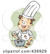 Royalty Free RF Clipart Illustration Of A Messy Chef Happily Mixing Ingredients Over Green by BNP Design Studio