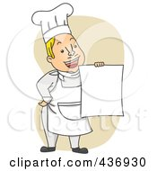 Royalty Free RF Clipart Illustration Of A Happy Chef Holding Up A Menu Over Tan