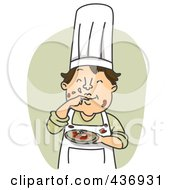 Royalty Free RF Clipart Illustration Of A Messy Chef Tasting His Sauce Over Green by BNP Design Studio