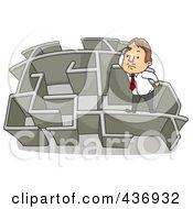 Poster, Art Print Of Businessman Climbing Over A Wall In A Maze - 3
