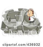 Royalty Free RF Clipart Illustration Of A Businessman Climbing Over A Wall In A Maze 3