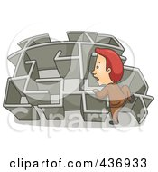 Royalty Free RF Clipart Illustration Of A Businessman Climbing Over A Wall In A Maze 2 by BNP Design Studio