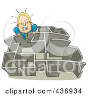 Royalty Free RF Clipart Illustration Of A Businessman Climbing Over A Wall In A Maze 1 by BNP Design Studio